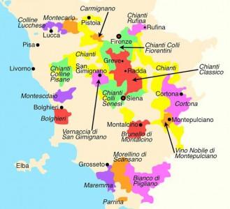 Chianti wine map