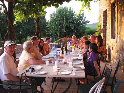Dining outdoors in Chianti