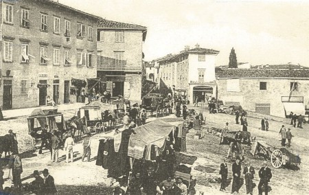 The piazza of Impruneta during the 19 C