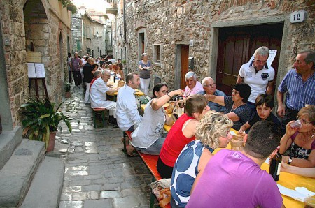 rione dinner in Montefioralle